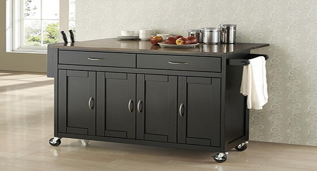 Tủ bếp di động bằng gỗ tự nhiên