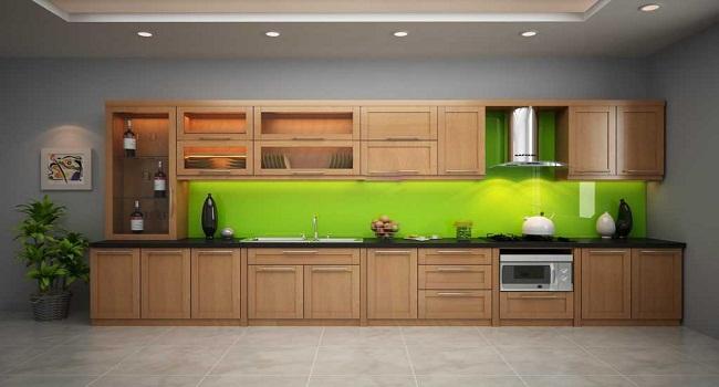 Tủ bếp nhôm kính đơn giản