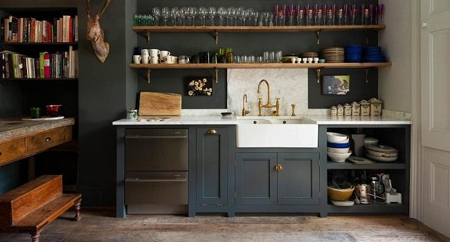 Tủ bếp đơn giản giá rẻ bằng gỗ tự nhiên