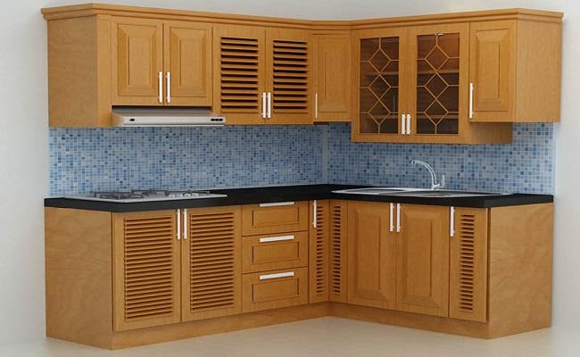 Tủ bếp gỗ tự nhiên chữ L giá rẻ