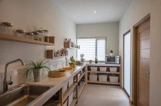 Tủ bếp đơn giản hiện đại thiết kế mở