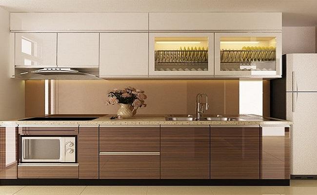 Tủ bếp đơn giản hiện đại không tay nắm