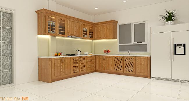 Tủ bếp gỗ đơn giản