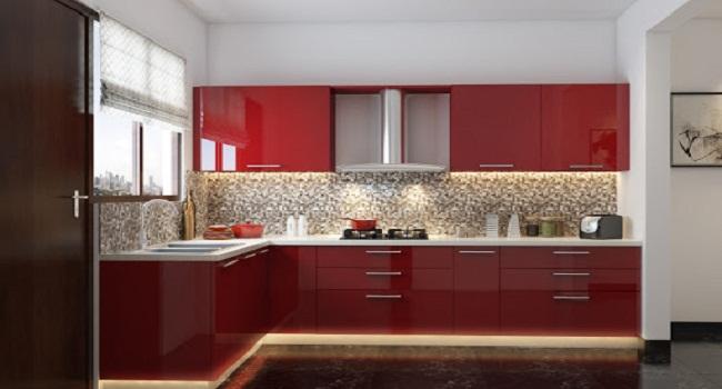 Tủ bếp đơn giản bằng gỗ công nghiệp