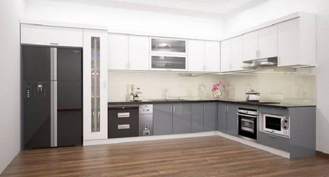 Tủ bếp đơn giản khung nhựa cánh gỗ Acrylic