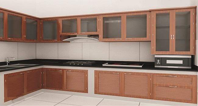 Tủ bếp đơn giản bằng nhôm kính