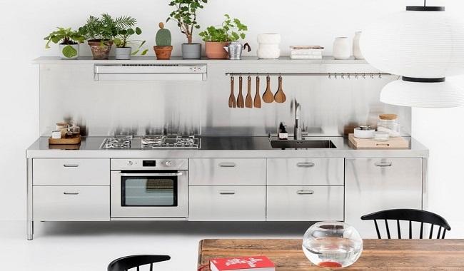 Mẫu tủ bếp dưới bằng inox