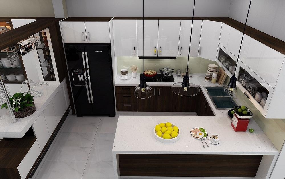 Tủ bếp gia đình đẹp bằng chất liệu gỗ công nghiệp