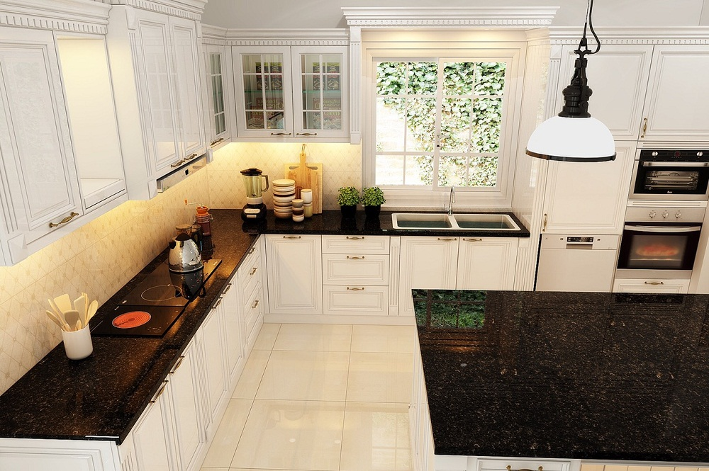 Tủ bếp gỗ tự nhiên kết hợp đá và inox