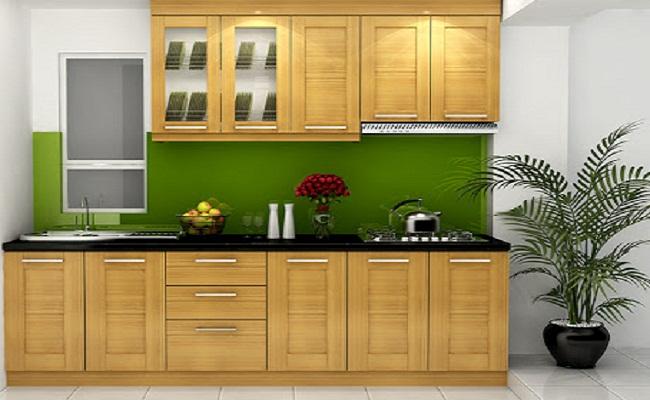 Tủ bếp gỗ cho nhà chung cư nhỏ