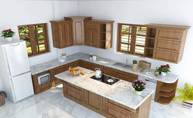 Tủ bếp gỗ chữ L có đảo bếp sang trọng