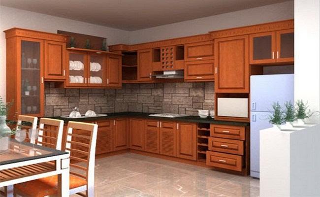 Tủ bếp gỗ chữ L sang trọng