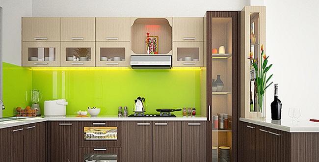 Mẫu tủ bếp có bàn thờ ông táo bằng gỗ Melamine