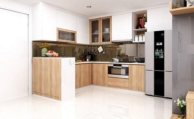Tủ bếp gỗ có bàn thờ ông Táo