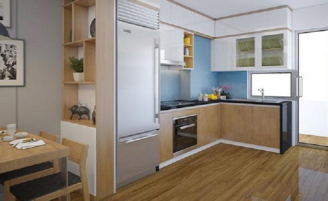 Tủ bếp gỗ công nghiệp chữ L cho nhà nhỏ