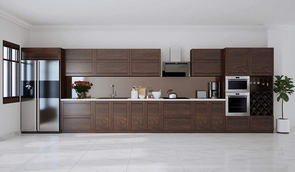 Tủ bếp gỗ khung inox