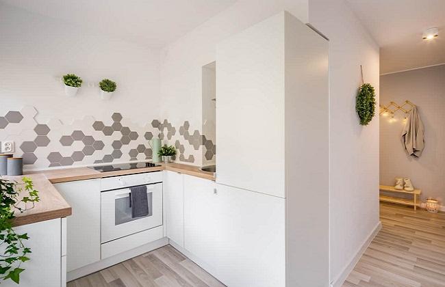 Tủ bếp gỗ Melamine trăng nhỏ gọn