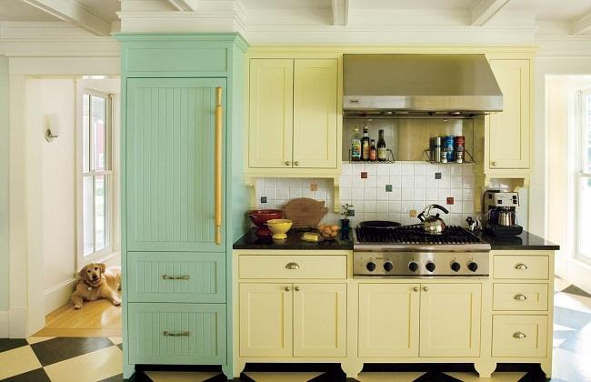Tủ bếp gỗ sơn màu