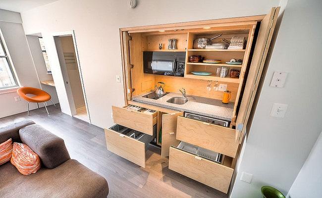 Mẫu tủ bếp gỗ nhỏ đẹp