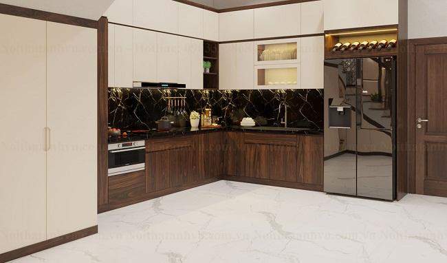 Tủ bếp gỗ óc chó hiện đại chữ L
