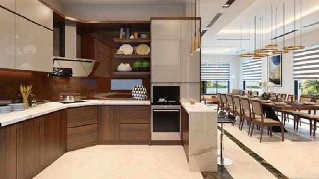 Tủ bếp gỗ óc chó Acrylic hiện đại