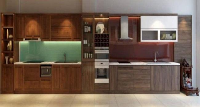 Mẫu tủ bếp gỗ óc chó hiện đại