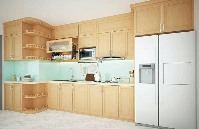 Tủ bếp gỗ sồi hiện đại giá rẻ