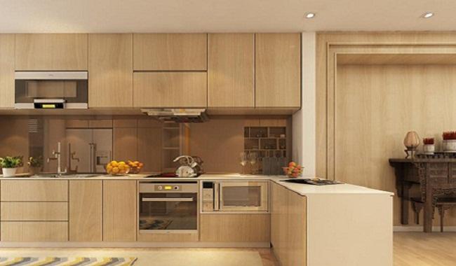 Tủ bếp gỗ sồi Nga cao cấp hiện đại
