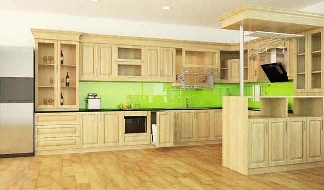 Tủ bếp gỗ sồi Nga chữ U cao cấp