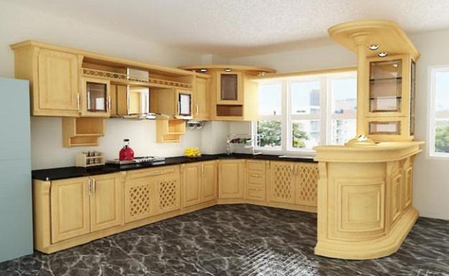 Tủ bếp gỗ sồi Nga có quầy bar cao cấp