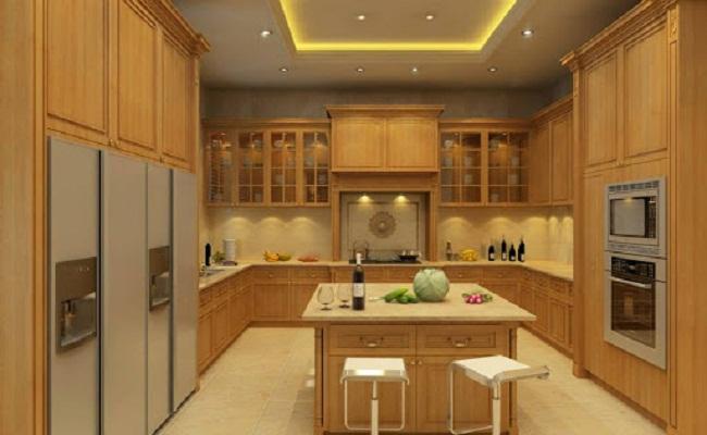 Mẫu tủ bếp gỗ sồi Nga cao cấp sang trọng