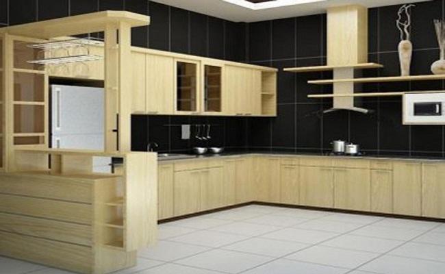 Tủ bếp gỗ sồi Nga cao cấp