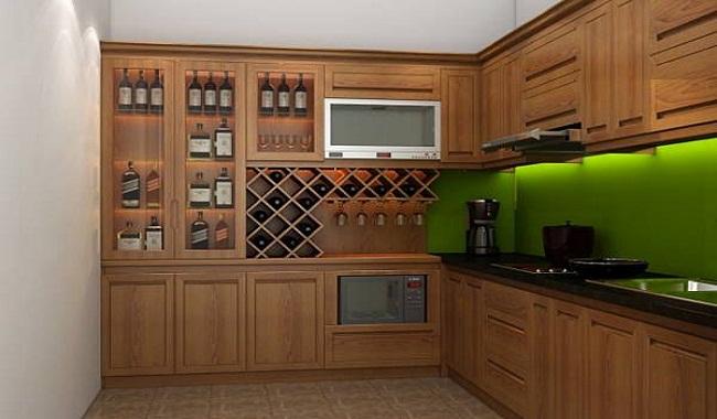 Tủ bếp gỗ sồi Nga giá bao nhiêu?
