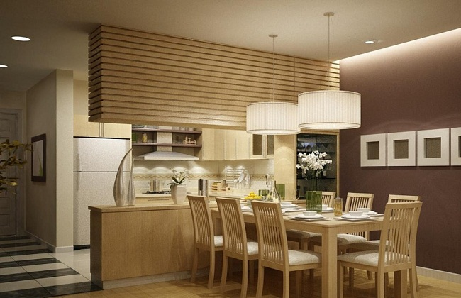 Thiết kế tủ bếp gỗ sồi Nga hiện đại