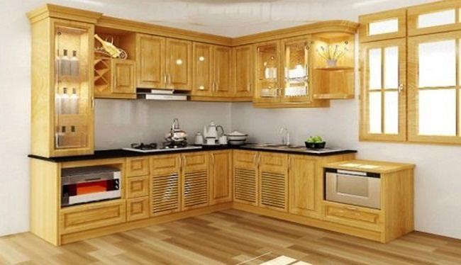 Tủ bếp gỗ sồi Nga hiện đại có tủ rượu
