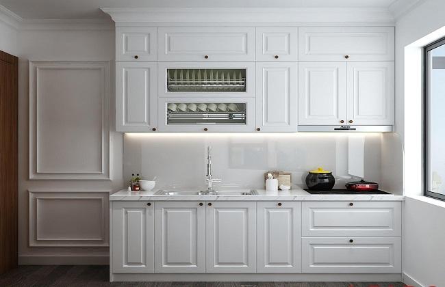 Tủ bếp gỗ sồi sơn bệt hiện đại