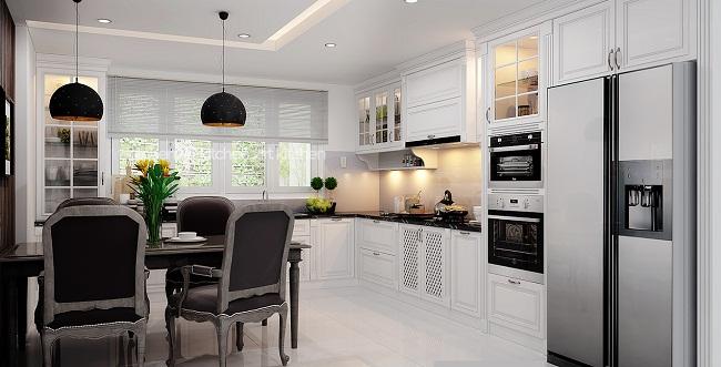 Tủ bếp gỗ sồi sơn màu trắng