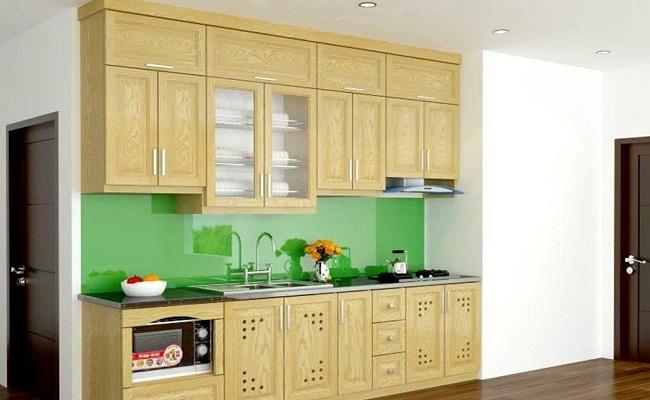 Tủ bếp gỗ sồi trắng đẹp