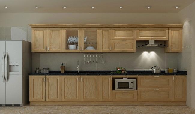 Mẫu tủ bếp gỗ tần bì đơn giản
