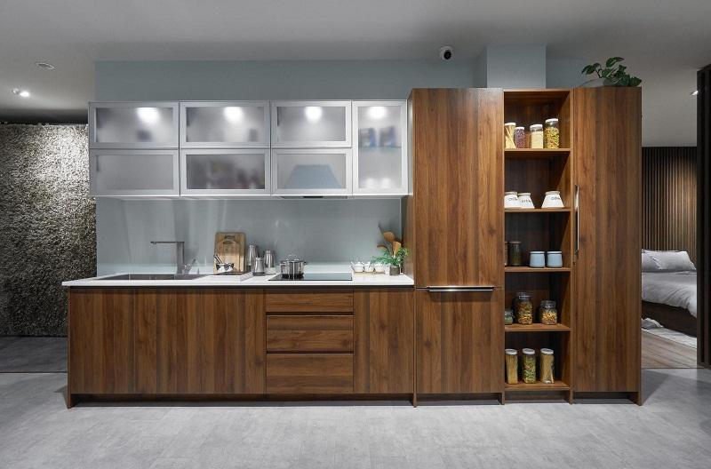 Tủ bếp gỗ tự nhiên chữ I