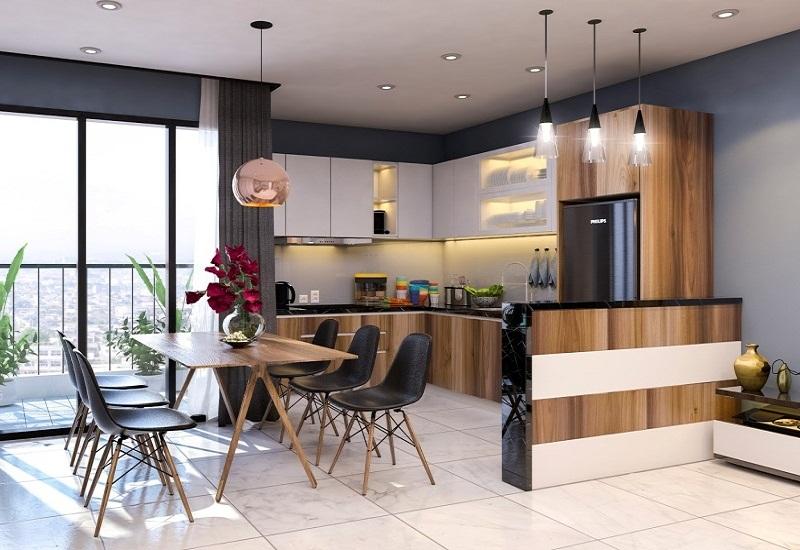 Tủ bếp gỗ tự nhiên hiện đại