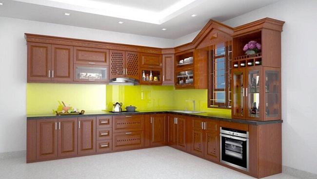 Tủ bếp gỗ xoan chữ L