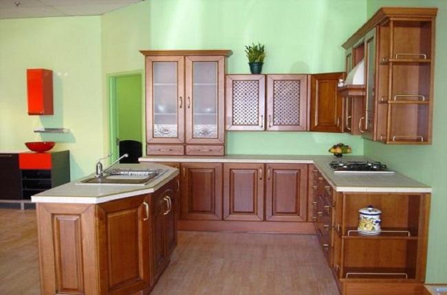 Mẫu tủ bếp gỗ xoan đào chữ L đẹp