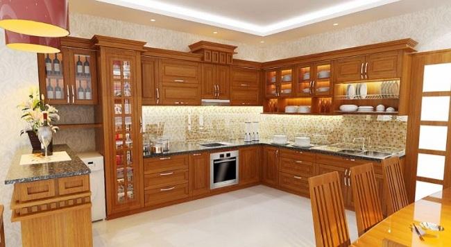 Tủ bếp gỗ xoan đào chữ L đẹp