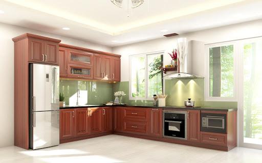 Tủ bếp gỗ xoan đào hiện đại giá rẻ