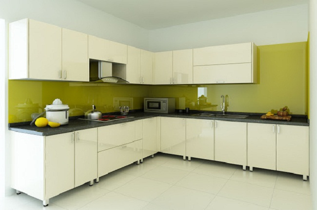 Mẫu tủ bếp inox cánh Acrylic