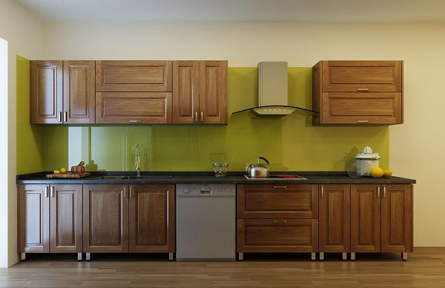 Tủ bếp inox cánh gỗ sồi