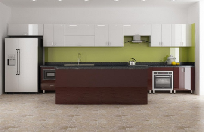 Tủ bếp inox cánh gỗ Acrylic