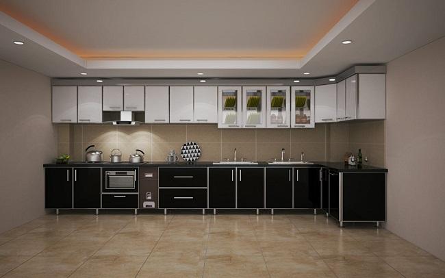Tủ bếp inox cánh gỗ Acrylic đẹp
