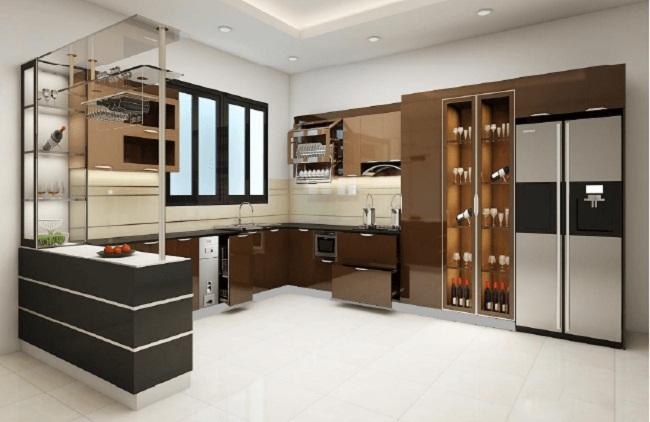 Tủ bếp inox cánh kính có quầy bar
